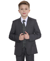 Boys Suits, Boys Check Suits, Page Boy Wedding Prom Formal Suit, Boys Grey Suit