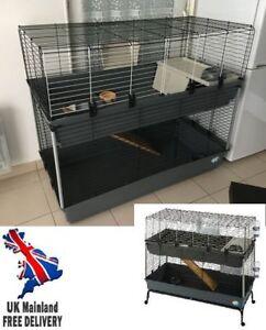 2 Tier Pet Cage Small Animal Rabbit Playpen Crate Pen Indoor Tray Rolling Metal