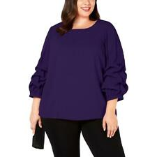 Alfani Womens Purple Wide Neck 3/4 Sleeve Office Blouse Top Plus 1X BHFO 0091