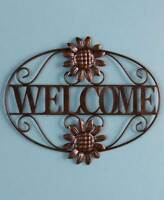 Scrolled Metal Bronze Welcome Wall Plaque Outdoor Greeting Porch Sign Wall Decor