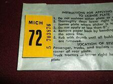 1972 Michigan License Plate Sticker Tab -- UNISSUED --Car or Truck YOM