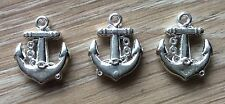 3x Sailor Anchor Lightweight Rockabily Silver Coloured Craft Charms