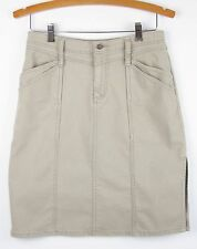 Royal Robbins Skirt Ecru Cotton Thin Wale Corduroy Side Slit Casual Wear Size 2