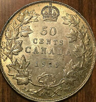 1929 CANADA SILVER 50 CENTS - Really nice example - Some remaining luster!