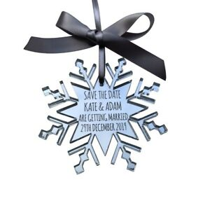Jajo UK mirror acrylic snowflake save the date decoration, winter wedding invite