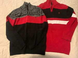 IZOD PAIR OF SZ L 10-12 SWEATERS BLACK RED WHITE 100% COTTON