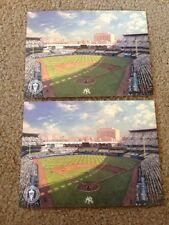 Set Of 2 Thomas Kincaid Giant Postcards Old New York Yankees Stadium 5.5x7.25