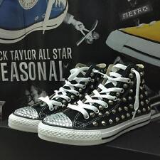 Converse All Star personalizzate con Brillantini e Borchie Argento Nere Premium