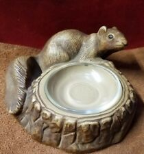 Vintage Chalkware Squirrel Coin Nut Trinket Mint Dish Ashtray Tray w/ Glass