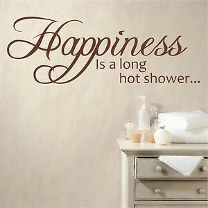 Happiness Is A Long Hot Shower | Wall Quote Decal Sticker Bathroom Vinyl Words