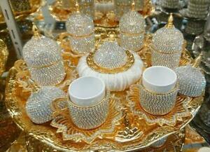 Luxury Coffee Set Home Arabic Greek Turkish Kitchen Diamond Total Handmade