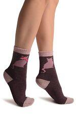 Purple With Cute Cat and Satin Bow Angora Ankle High Socks (SA002888)