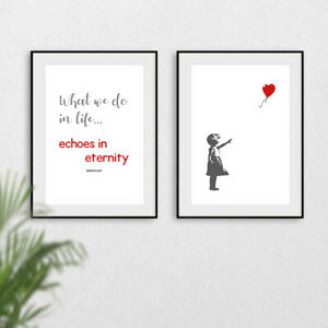 Banksy Set of 2 Prints Red Heart Balloon Girl Wall Art Quote Artwork Poster Grey