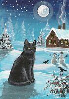 PRINT OF ACEO PAINTING RYTA CHRISTMAS BLACK CAT FOLK ART CROW SNOWMAN LANDSCAPE