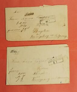 2 RUSSIA RUSSLAND BOXED CANCEL STAMPLESSS PAID TO KOENIGSBERG