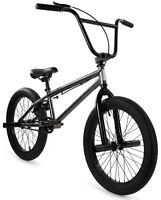 "Elite 20"" BMX Stealth Bicycle Freestyle Bike 1 Piece Crank Gunmetal Grey 2021"