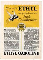 1927 ORIGINAL VINTAGE ETHYL GASOLINE MAGAZINE AD
