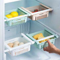 Extendable Fridge Box Holder Shelf Organizer Cupboard Holder Storage Basket UK