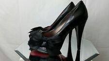 "Paris Hilton Peep Toe Black Patent Leather 4 5/8"" Heels with Bow Destiny 7 M"