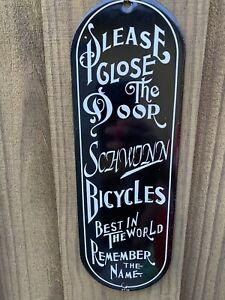 VINTAGE SCHWINN BICYCLES DOOR PUSH PLATE PORCELAIN METAL SIGN USA TRICYCLE BIKES