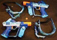 PAIR, c2004 TIGER Electronics Laser Tag Blue Gun Blaster Pistols & Glasses