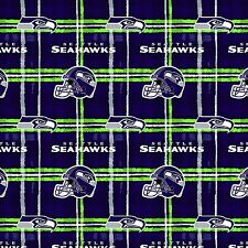 SEATTLE SEAHAWK NFL Flannel Plaid Fabric sold by 1/2 yard