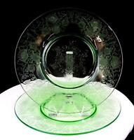 "HAZEL ATLAS FLORENTINE 2 GREEN VASELINE GLASS 2 PIECE 10"" DINNER PLATES 1932-"