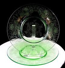 "HAZEL ATLAS FLORENTINE 2 GREEN VASELINE GLASS 2 PIECE 10"" DINNER PLATES 1932-"