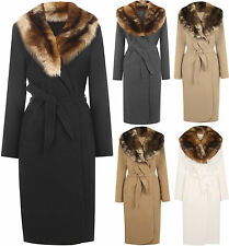 Knee Length Wool Patternless Coats & Jackets for Women