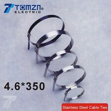 100pcs 4.6mmx350mm STAINLESS STEEL ZIP CABLE TIES LOCK TIE WRAP
