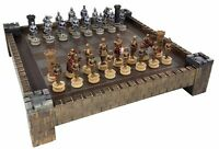 MEDIEVAL TIMES Crusades WARRIOR KNIGHTS Gold & Silver Chess Set W/ Castle Board
