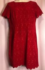 """Robbie Bee 16 L? 42""""Bust Red Women Dress holiday Floral embroidered career QQ25"""