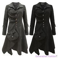 Ladies Womens Vintage Retro Boho Hippie Long Coat Buttoned Jacket 8 10 12 14 16