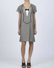 Mayle 8 Black & White Embroidered Silk Tuxedo Bow Tie Shift Boho Chic Dress