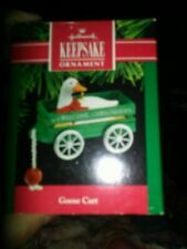Hallmark 1990 Goose Cart Keepsake Christmas Tree Ornament ch1475