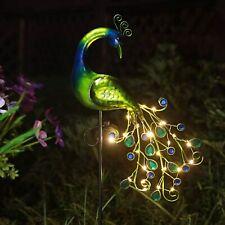 Metal Solar Peacock Garden Decor Sculpture Yard Lawn Patio Home Statue Stake Art