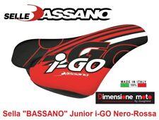 """7003 - Sella """"BASSANO"""" Junior i-GO Nero/Rosso per Bici Bambino 12-14-16-20 MTB"""
