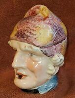 Vintage Figural Tobacco Jar Humidor Man with Sideburns and Cigar