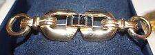 Vintage  Brooch Art Deco Bar Golden Midnight Blue Rhinestones