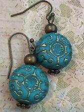 Beautiful Bronze  & Etched Aqua Turquoise Bead Earrings. Boho Chic. Light Weight