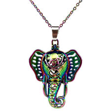 C131 Rainbow Color Elephant Pearl Cage Pendant Necklace 18""