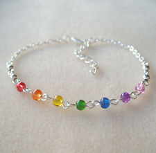 Pretty Rainbow Chakra Multi-Coloured Beaded Chain Anklet Ankle Bracelet - Reiki