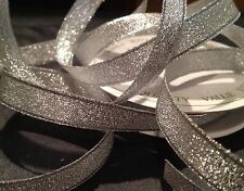 6mm SPARKLY SILVER METALLIC CHRISTMAS RIBBON FULL ROLL 5m
