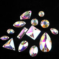 Sew On Rhinestones Crystal AB Glass Beads Flatback White Stones for Dress Making