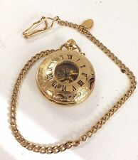 ROTARY Gold Toned Skeleton Design Mechanical Pocket Watch with Chain - M05