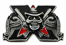 Skull Belt Buckle Truck Driver Dark Black Cross Wings Guns Trucker * UK Seller *