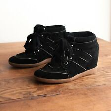 NEW Scultz Black Gold Leather Suede Saint Bridget Wedge Sneaker Heels Sz 7
