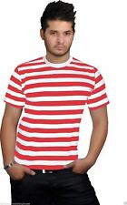 NEW MEN'S WHERES WALLY STRIPS CREW NECK T-SHIRT TOP COSTUME KIT BOOK WEEK DAY