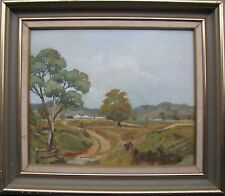 "MARY HELLIAR AUSTRALIAN FRAMED OIL ""DIRT TRACK LIMEVALE NSW"" C 1985"