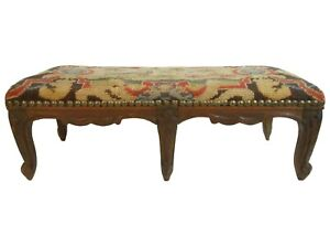 LATE 19TH C ANTIQUE BAROQUE 6-LEGGED WALNUT OTTOMAN, W/PEACOCK EMBR'D WOOL COVER